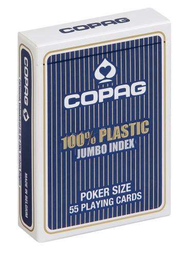 Pokerkaarten Copag 100% plastic Jumbo Blauw