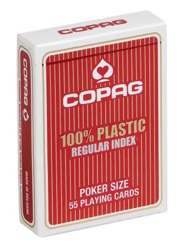 Pokerkaarten Copag 100% plastic Regular Rood