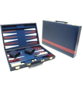 Backgammon-koffer blauw vinyl 46x30 cm