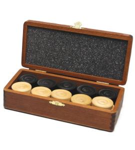 Dam pions hout in houten doosje