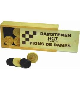 Dam Pions Hout 32mm Luxe+Kistje