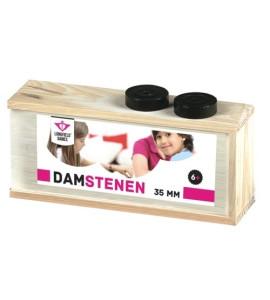 Dam Pions Hout 35mm + Doosje