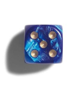 Dobbelsteen 12mm Parelmoer Blauw