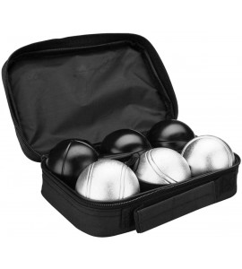 Petanqueballen Set van 6 zwart/zilver