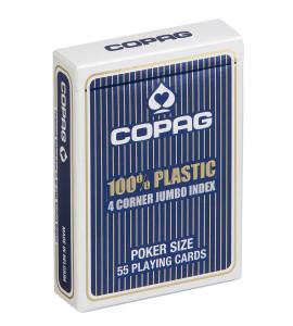 Pokerkaarten Copag 100% plastic 4 Jumbo Blauw