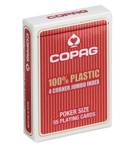 Pokerkaarten Copag 100% plastic 4 Jumbo Rood