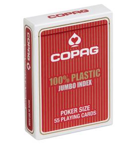 Pokerkaarten Copag 100% plastic Jumbo Rood